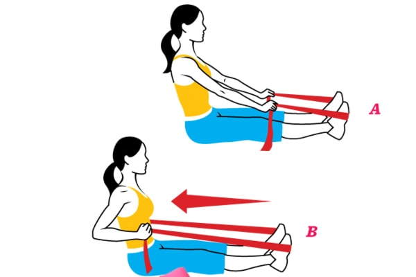 Упражнение на спину с эспандером