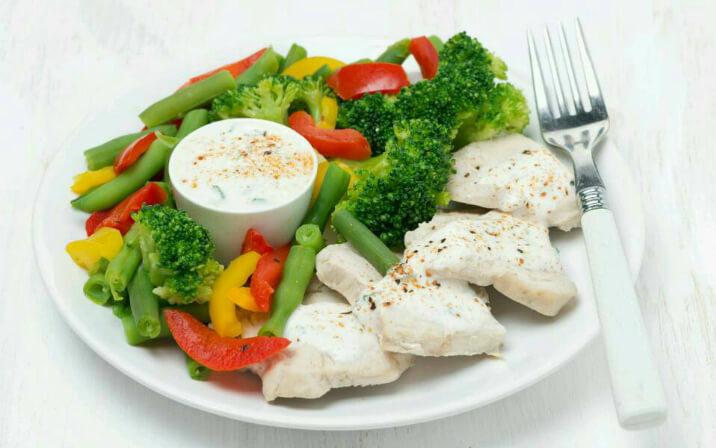 Овощи с курицей на пару