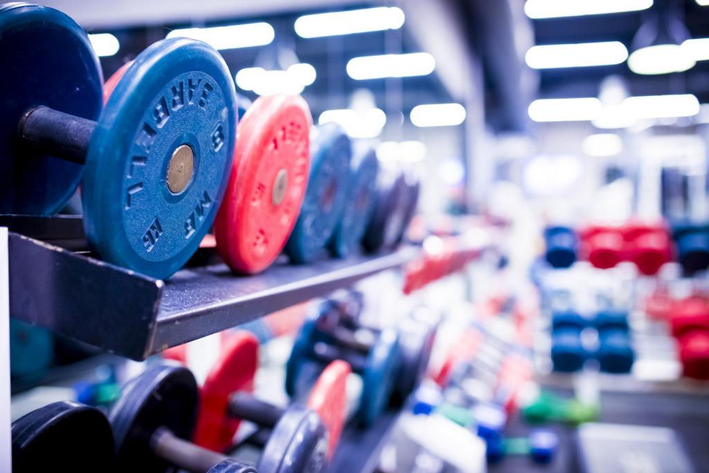 Гантели разных весов в фитнес-клубе «Манго»